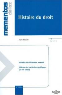 Histoire du droit : Introduction historique au droit et histoire des institutions publiques