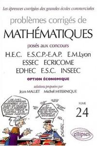 Mathématiques posés aux concours des écoles commerciales (voie économique), tome 24