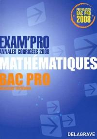 Mathématiques Bac Pro Secteur tertiaire : Annales corrigées 2008