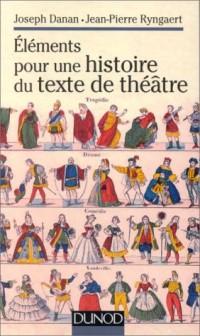 Elements pour une histoire du texte de theatre