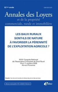 Les baux ruraux sont-ils de nature à favoriser la pérennité de l'exploitation agricole