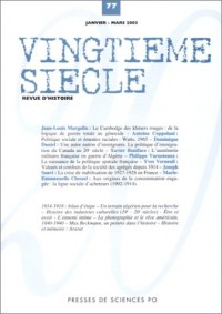 Vingtième siècle, numéro 77 : Revue d'histoire