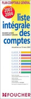 Plan comptable général 2003-2004 : Liste intégrale des comptes (dépliant plastifié)