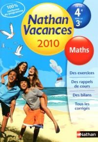 Maths de la 4e vers la 3e Nathan Vacances